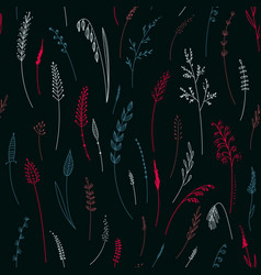 seamless pattern herbs plants flowers and vector image