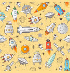 seamless pattern with space rockets and other vector image