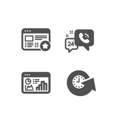 Seo statistics favorite and 24h service icons vector