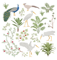 set design elements for exotic chinoiserie vector image