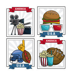 Set of american sports and movies vector