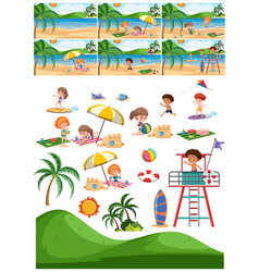 set of beach collection vector image