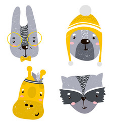 Set of four cute animal faces creative animal vector