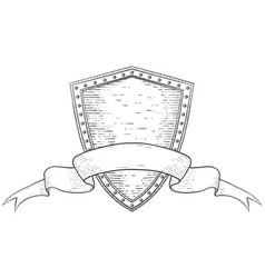 Shield with ribbon banner hand drawn sketch vector