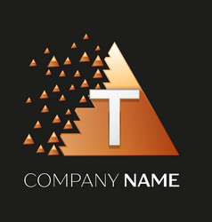 Silver letter t logo symbol in the triangle shape vector
