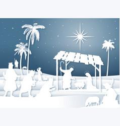soft shadows white silhouette christmas nativity vector image