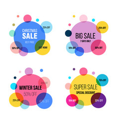 super sale circle banner set poster special vector image