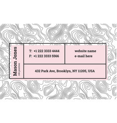 Super trendy business card template contour map vector