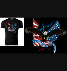 T-shirt design with flying bald eagle vector