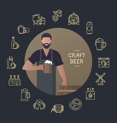 template man with a beer in hand with a place for vector image