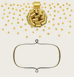 Template with gold rose ribbon bow gold confetti vector