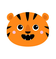 Tiger roaring yawing face icon open mouth fang vector
