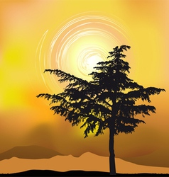 Tree silhouette on an abstract background vector image
