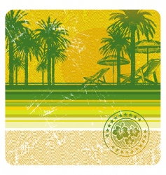 Tropical beach with palms vector