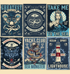 Vintage marine posters set vector