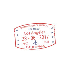 Visa stamp departed from los angeles isolated mark vector