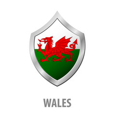 Wales flag on metal shiny shield vector