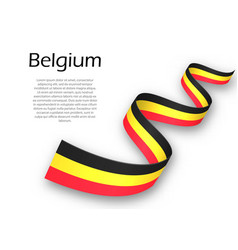 Waving ribbon or banner with flag of belgium vector