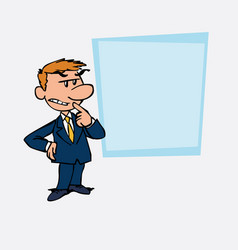 White businessman worried and doubtful showing vector