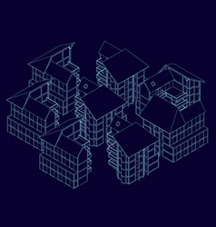 wireframe houses standing nearby isometric vector image