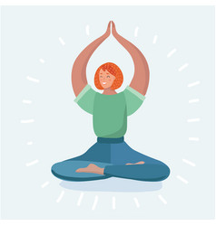 Young woman in lotus position while meditating vector