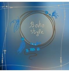 Boho style frame background vector image