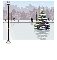 Christmas Park City View vector image