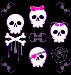 emo skulls vector image