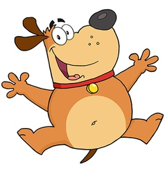 Happy Fat Dog Jumping vector image vector image