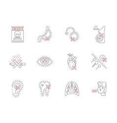 Set of smoking harmful flat line icons vector image