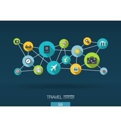 Travel network background with integrate flat vector image