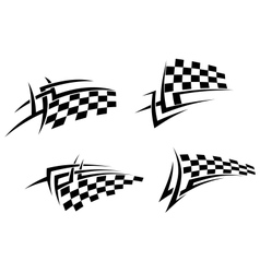Tribal tattoo with racing flag vector image vector image