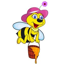 Bee cartoon with honey bucket vector image vector image