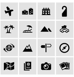 black travel icon set vector image vector image