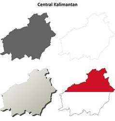 Central Kalimantan blank outline map set vector image