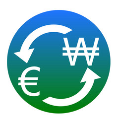 currency exchange sign euro and south korea won vector image