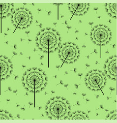 green seamless pattern with black dandelion fluff vector image