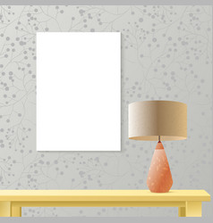 interior room realistic mockup with poster paper vector image vector image