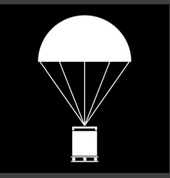 Parachute with cargo it is the white color icon vector