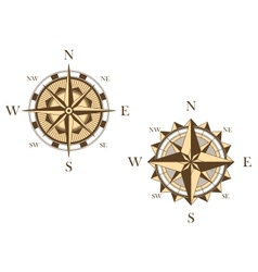 Two vintage compasses vector