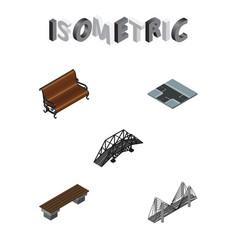 isometric urban set of sitting bench bridge and vector image