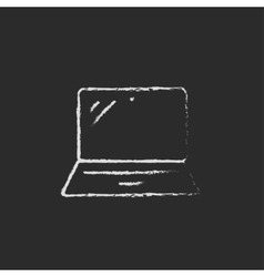 Laptop drawn in chalk vector image