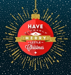 Red bauble with Christmas greeting vector image vector image