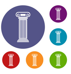 roman column icons set vector image