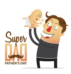 Father holding his son in cartoon character vector image vector image