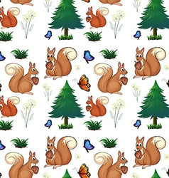 Squirrels and pine trees vector image vector image