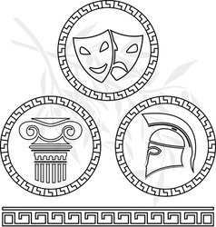 stencils of hellenic images vector image vector image