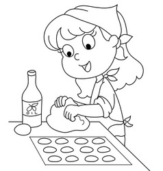 young chef girl coloring vector image vector image