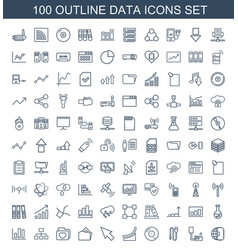 100 data icons vector image