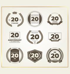 20 years anniversary logo set vector image